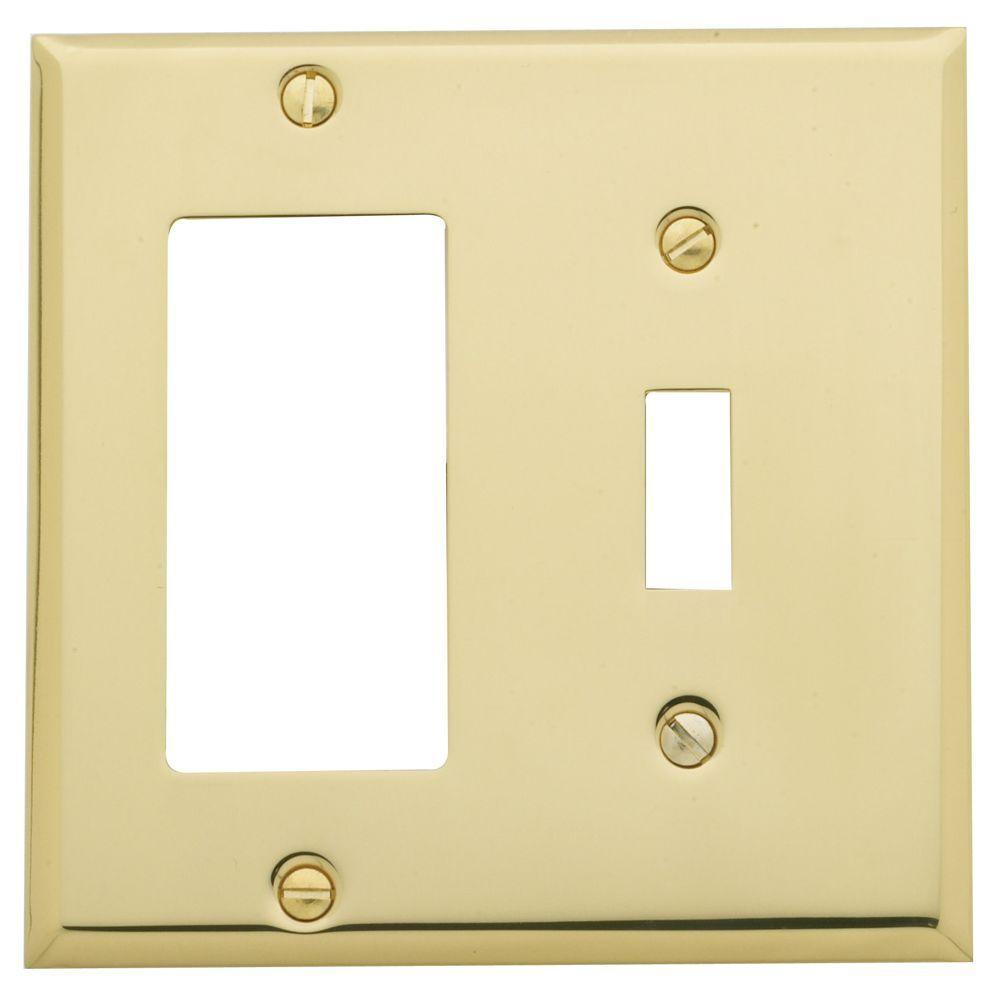 Beveled Edge 1 Toggle/1 Rocker Switch Combo Wall Plate - Polished