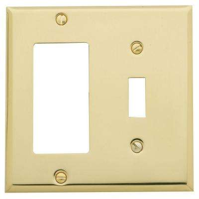 Beveled Edge 1 Toggle/1 Rocker Switch Combo Wall Plate - Polished Brass