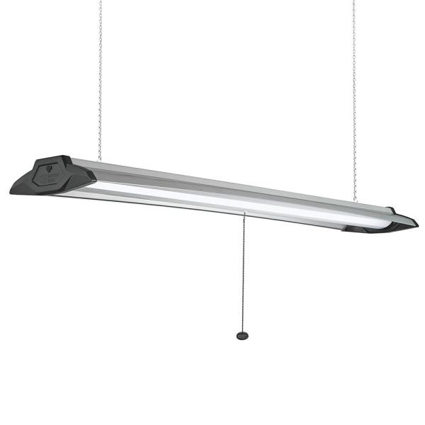 4 ft. 96-Watt Equivalent High Output 5500 Lumens Black Brushed Nickel Integrated LED Shop Light Linkable 4000K