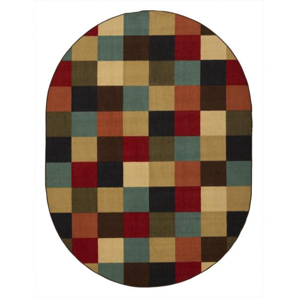 Ottohome Collection Contemporary Checkered Design Multicolor 5 ft. X 7 ft. Oval Area Rug
