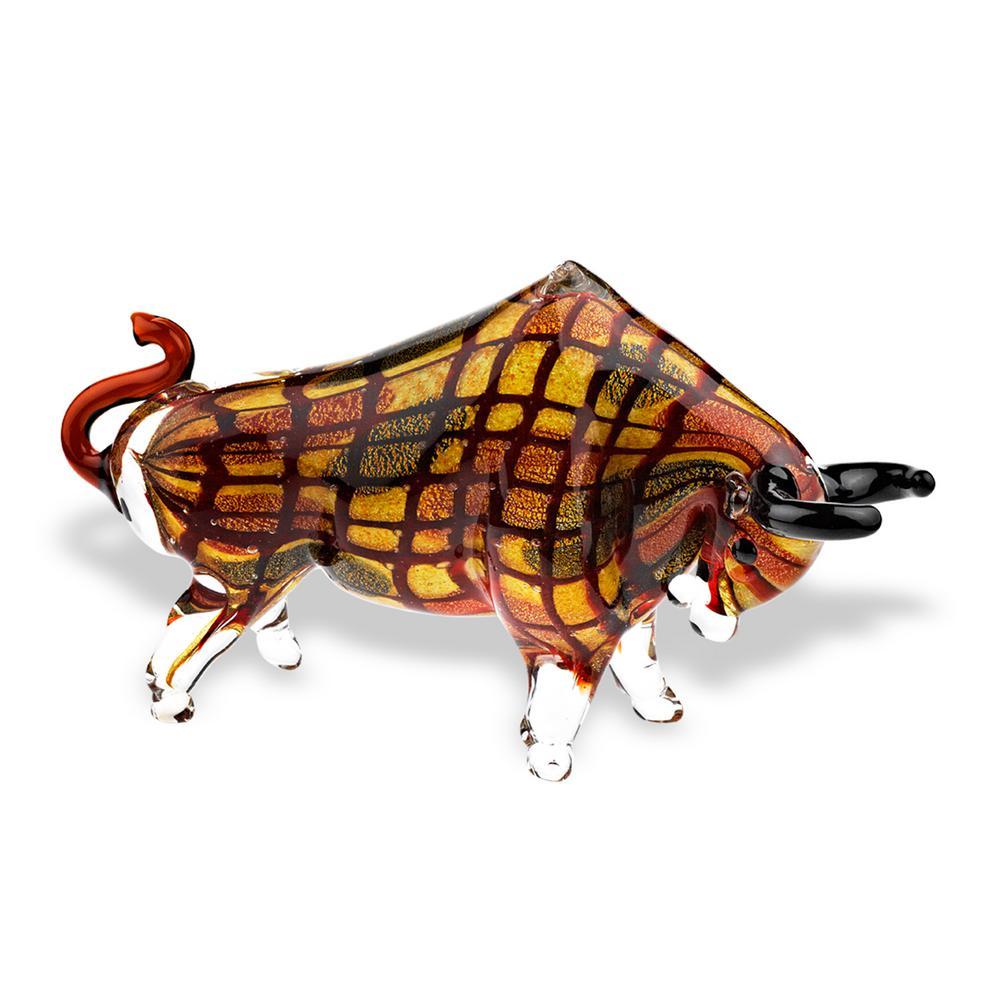 Toro Grande Murano Style Art Glass 16 in. L x 9 in. Tall Large Bull