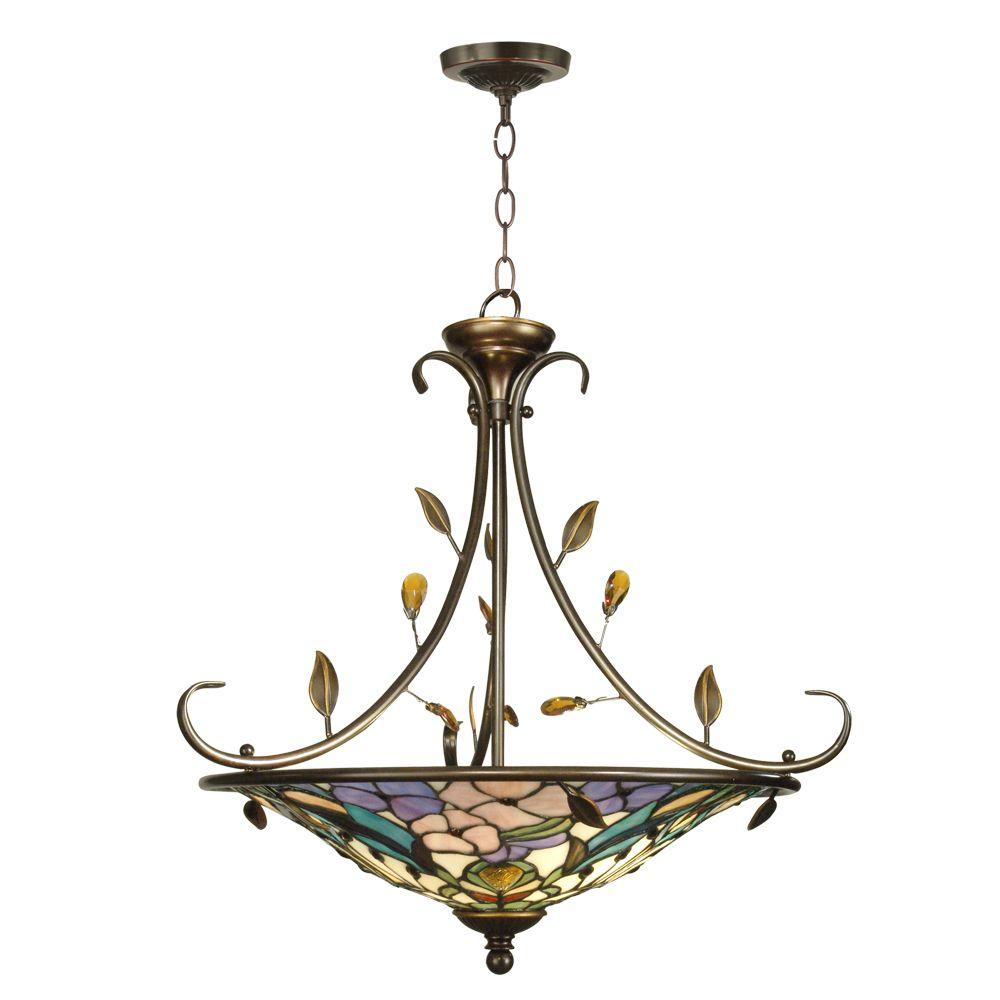 Dale Tiffany Peony 2-Light Antique Golden Sand Hanging Fixture