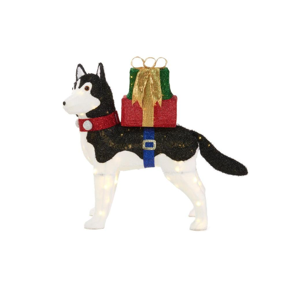 led lighted fuzzy husky - Husky Christmas Decoration