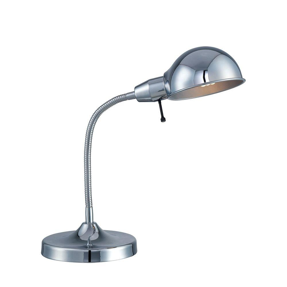 Illumine Designer Collection 1-Light 14 in. Chrome Desk Lamp with Chrome Metal Shade