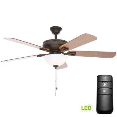 Rothley 52 in. LED Oil-Rubbed Bronze Ceiling Fan with Light Kit and Remote Control