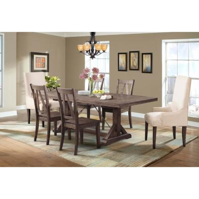 Flynn 7-Piece Dining Table Set with 4-Wooden Side Chairs and 2-Parson Chairs
