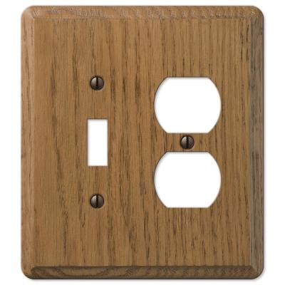 Contemporary 2 Gang 1-Toggle and 1-Duplex Wood Wall Plate - Medium Oak