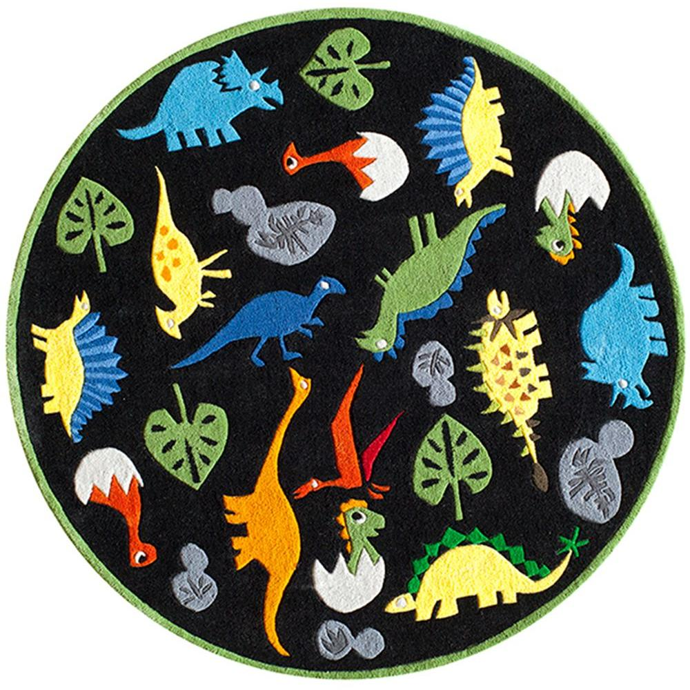 Caprice Dinosaurs Black 5 ft. x 5 ft. Indoor Round Area
