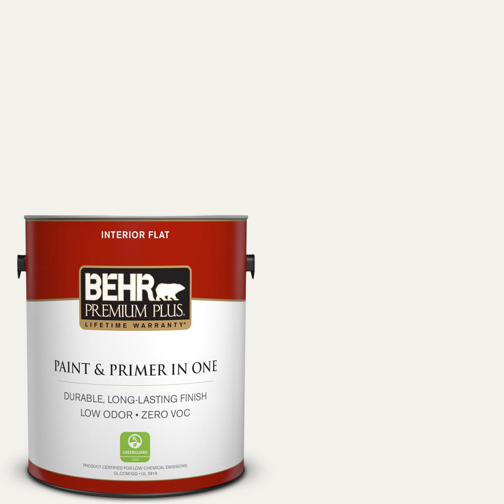 BEHR Premium Plus 1-gal. #W-F-600 Snow Fall Zero VOC Flat Interior Paint