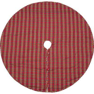 60 in. Galway Barn Red Rustic Christmas Decor Tree Skirt