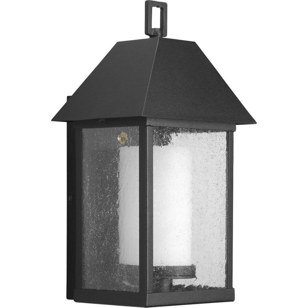Progress Lighting Domino Collection Outdoor Textured Black Wall Lantern