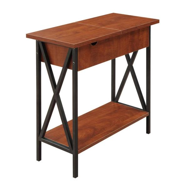Convenience Concepts Tuscon Black and Cherry Flip Top End Table 161859