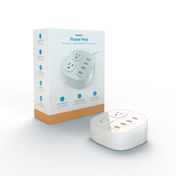 Power Pad 30-Watt 4-Port USB Desktop Charger and 2 AC Outlets
