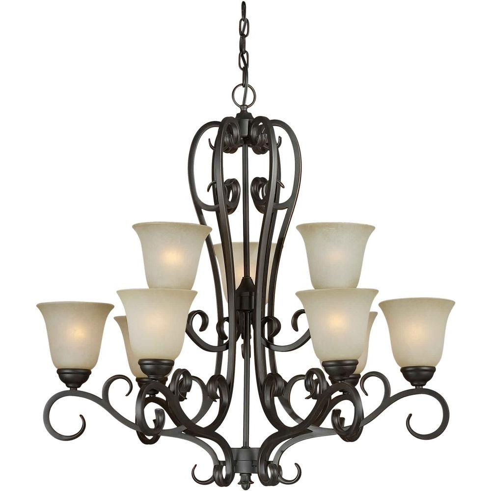 Talista 9-Light Bordeaux Bronze Chandelier with Umber Mist Glass Shade
