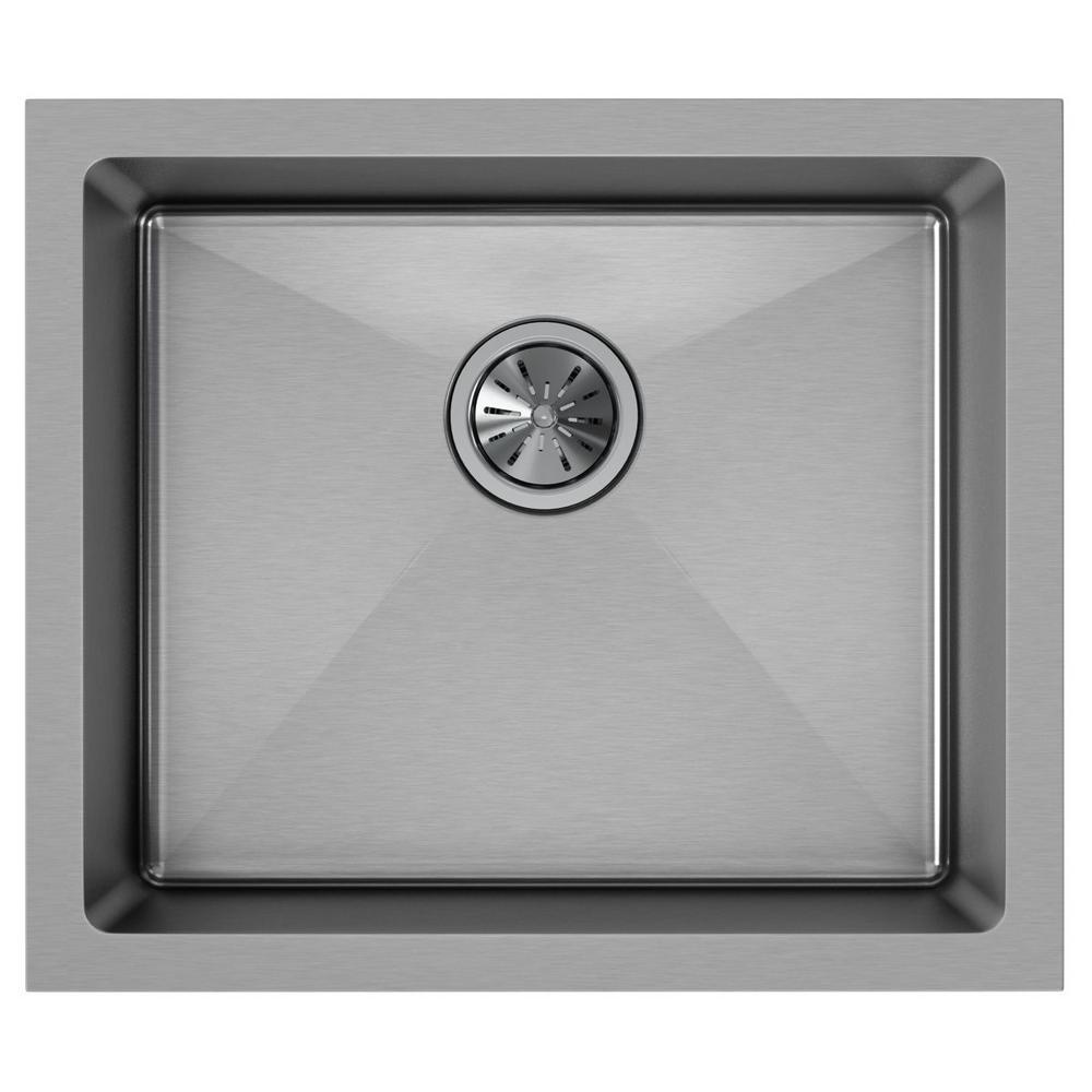 Crosstown Undermount Stainless Steel 22 in. Single Bowl Kitchen Sink