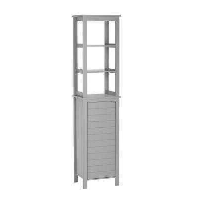Madison 15.75 in. W Linen Tower with Open Shelves in Gray