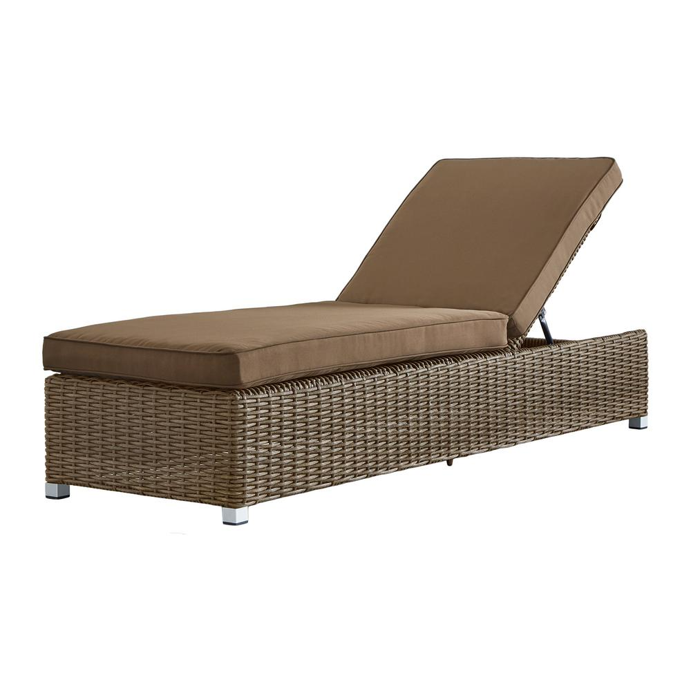 Homesullivan camari mocha wicker adjustable outdoor chaise for Brown chaise lounge outdoor