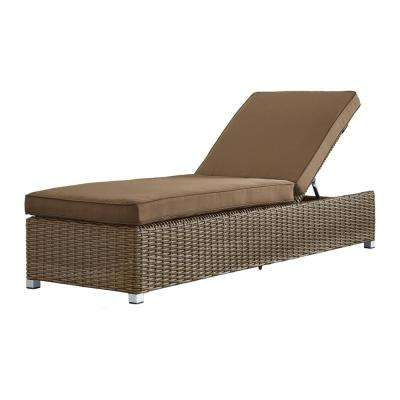 Camari Mocha Wicker Adjustable Outdoor Chaise Lounge Chair with Brown Cushion