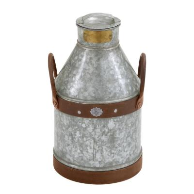 10 in. x 17 in. Distressed Gray and Brown Iron Milk Can with 2 Handles