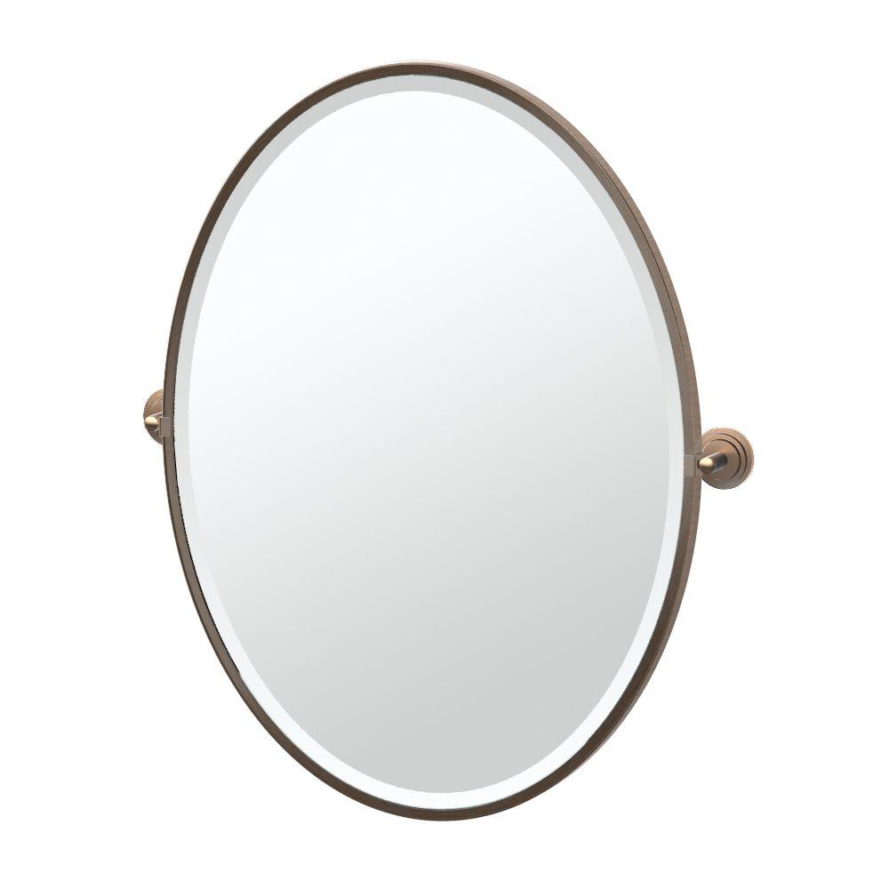 Framed Single Large Oval Mirror In Bronze