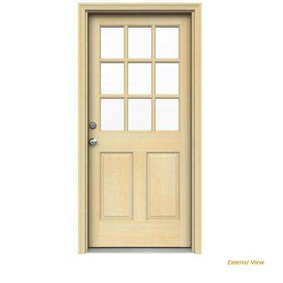 32 in. x 80 in. 9 Lite Unfinished Wood Prehung Right-Hand Inswing Front Door w/ Unfinished AuraLast Jamb and Brickmold