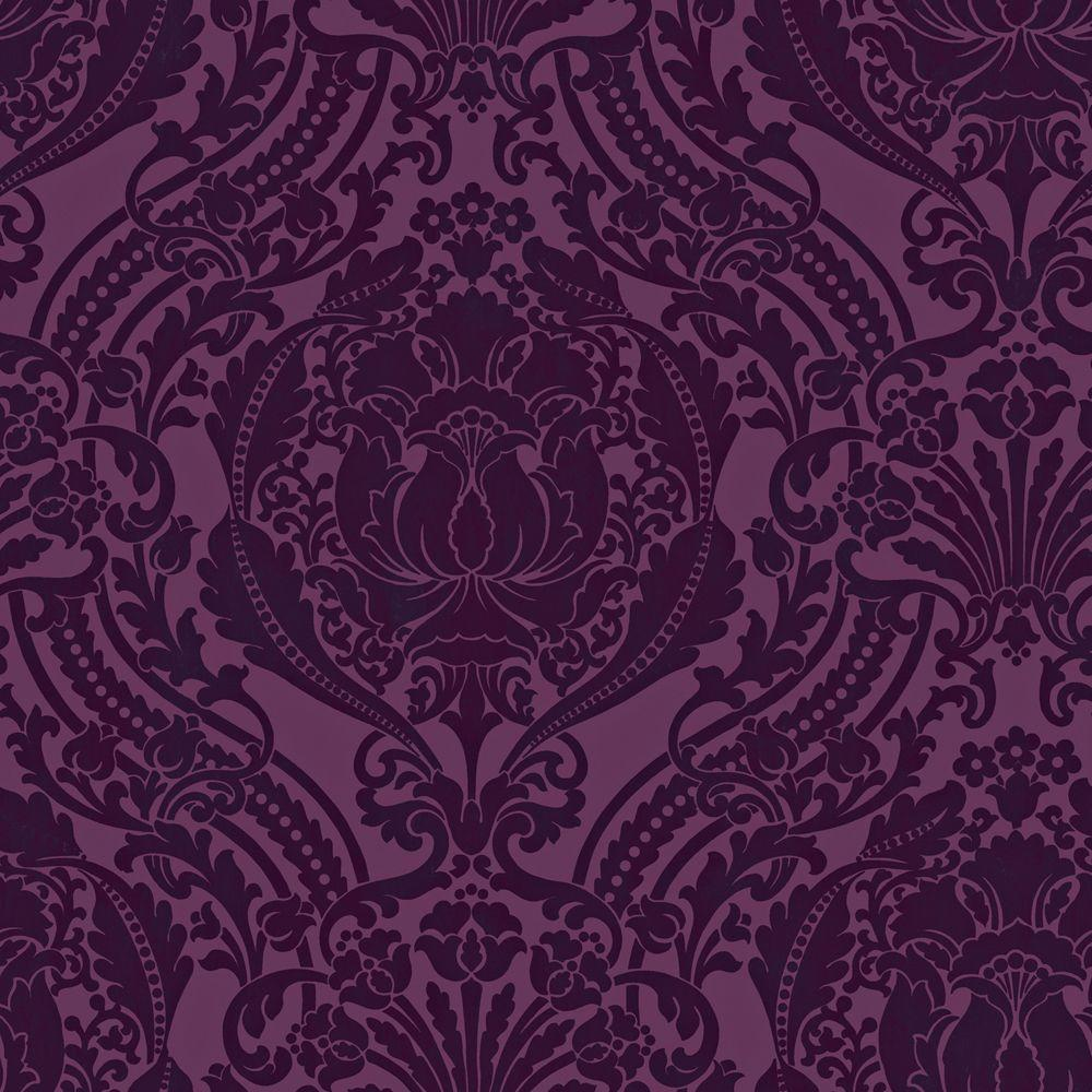 The Wallpaper Company 56 sq. ft. Purple Grandiose Damask Wallpaper