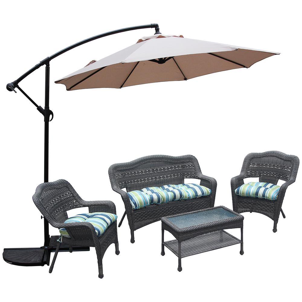 10 ft. Steel Crank Offset Market Patio Umbrella in Tan