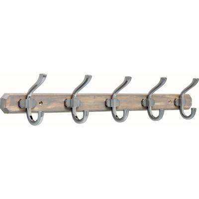 24 in. Graywash and Satin Nickel Hook Rack