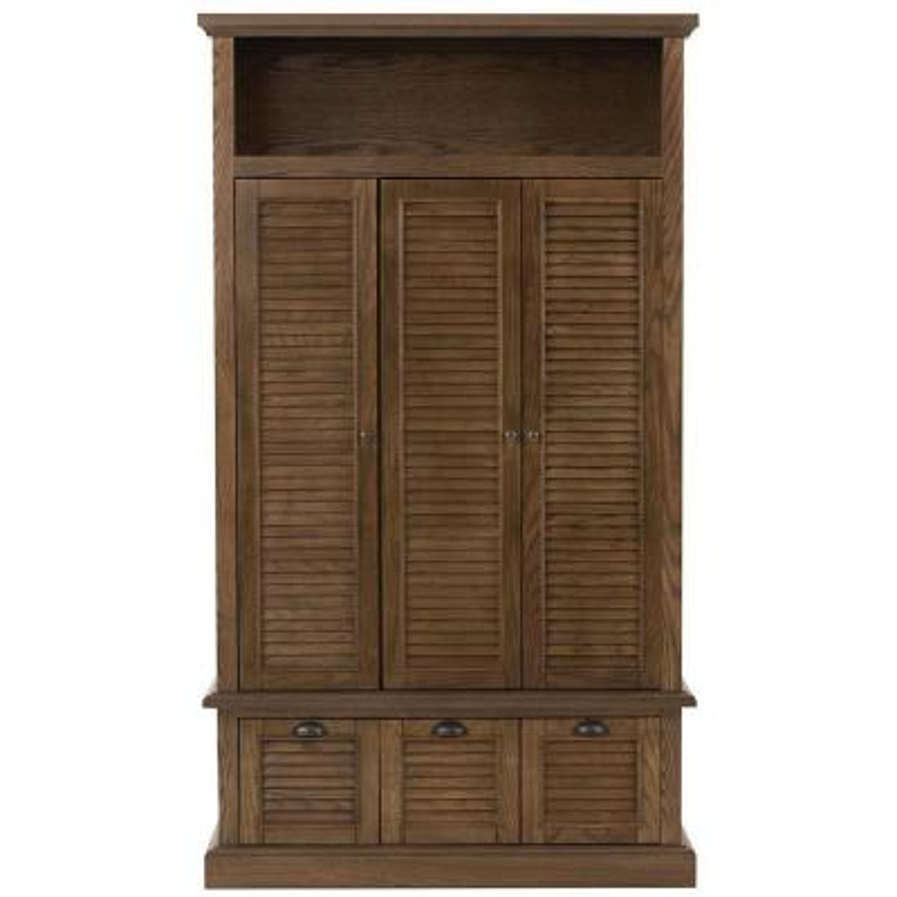 Shutter Three Door Closed Locker Storage in Weathered Oak (42 in. W x 74 in. H x 17 in. D)