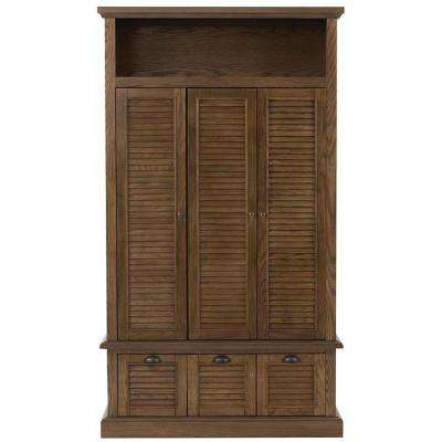 Shutter 42 in. W x 74 in. H x 17 in. D Triple Door Closed Locker Storage in Weathered Oak