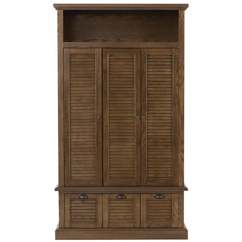 Shutter 42 in. W x 74 in. H x 17 in. D Triple Door Closed Locker Storage in Weathered Oak
