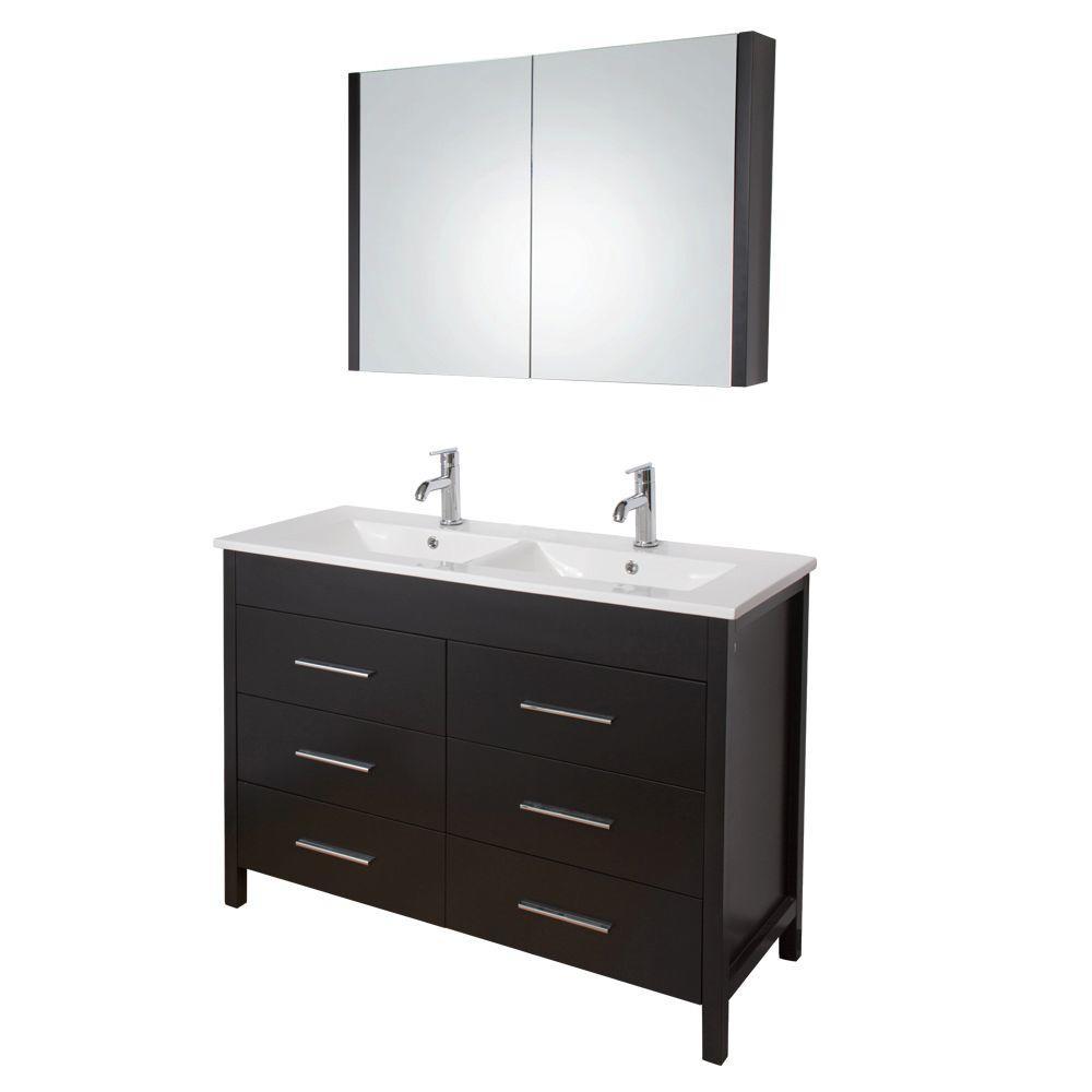 Vigo Maxine 46-1/2 in. Double Vanity in Espresso with Porcelain Vanity Top in White and Medicine Cabinet