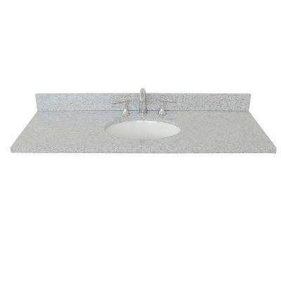 Ragusa 49 in. W x 22 in. D Granite Single Basin Vanity Top in Gray with White Oval Basin