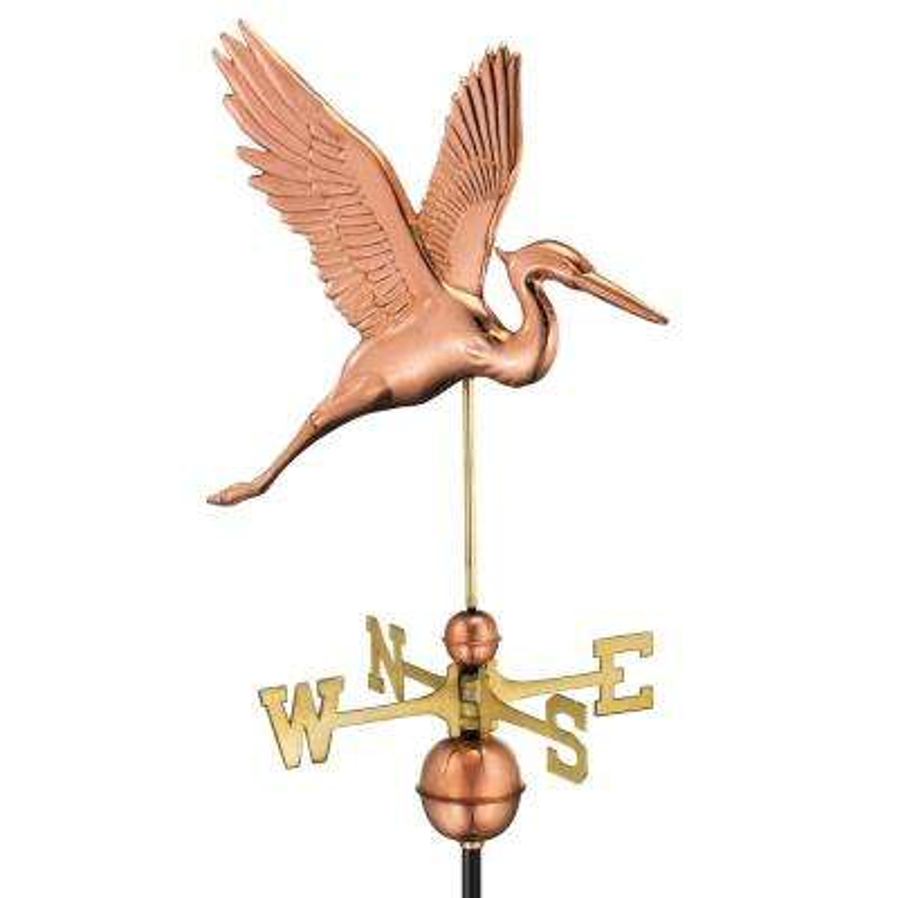 Graceful Blue Heron Weathervane - Pure Copper