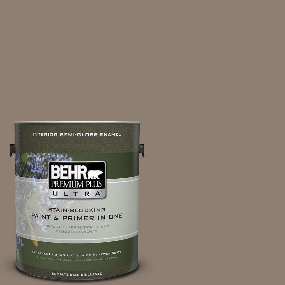 1-gal. #BNC-36 Restful Brown Semi-Gloss Enamel Interior Paint