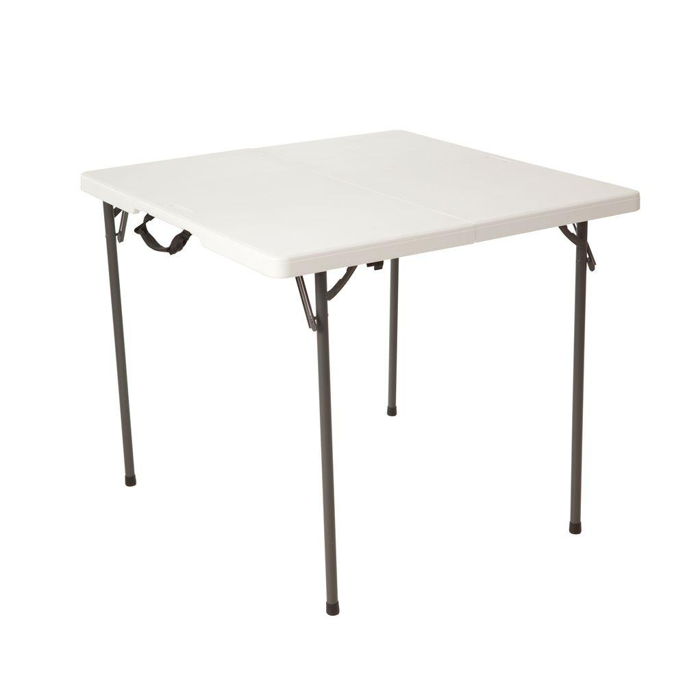 Lifetime 34 In Square Fold In Half Table Almond 80480 The Home Depot