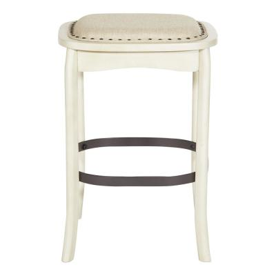 """Senna 26"""" Antique White Fabric Stool with Antique White Frame and Antique Brass Nailheads (Set of 2)"""