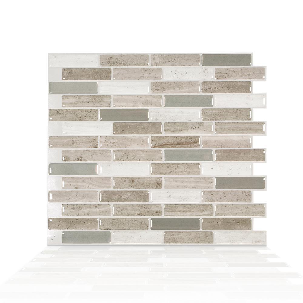 Milenza Vasto 10.20 in. W x 9.00 in. H Brown Peel and Stick Self-Adhesive Mosaic Wall Tile Backsplash (4-Pack)