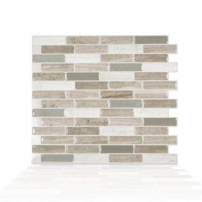 Milenza Vasto 10.20 in. W x 9.00 in. H Brown Peel and Stick Self-Adhesive Mosaic Wall Tile Backsplash (4-Pack)
