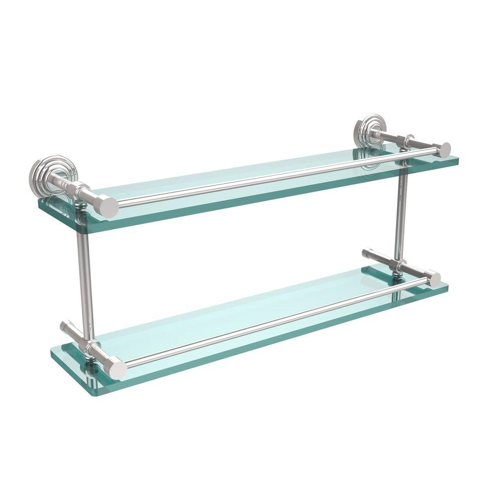 Allied Brass Waverly Place 22 in. L x 8 in. H x 5 in. W 2-Tier Clear Glass Bathroom Shelf with Gallery Rail in Polished Chrome