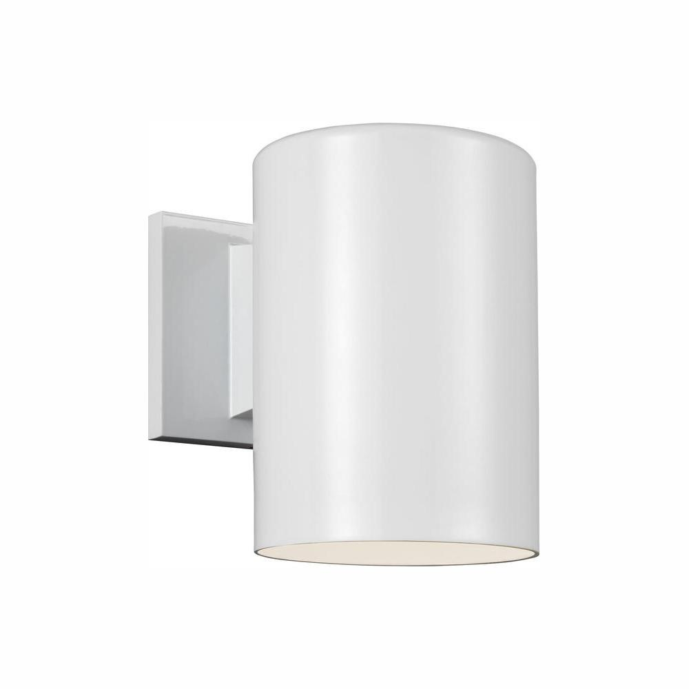 Sea Gull Lighting Outdoor Cylinders White Integrated Led Wall Lantern Sconce