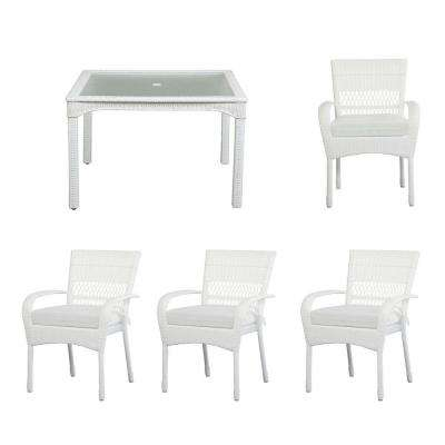 Charlottetown White All Weather 5 Piece Wicker Patio Dining Set With Cushion Insert
