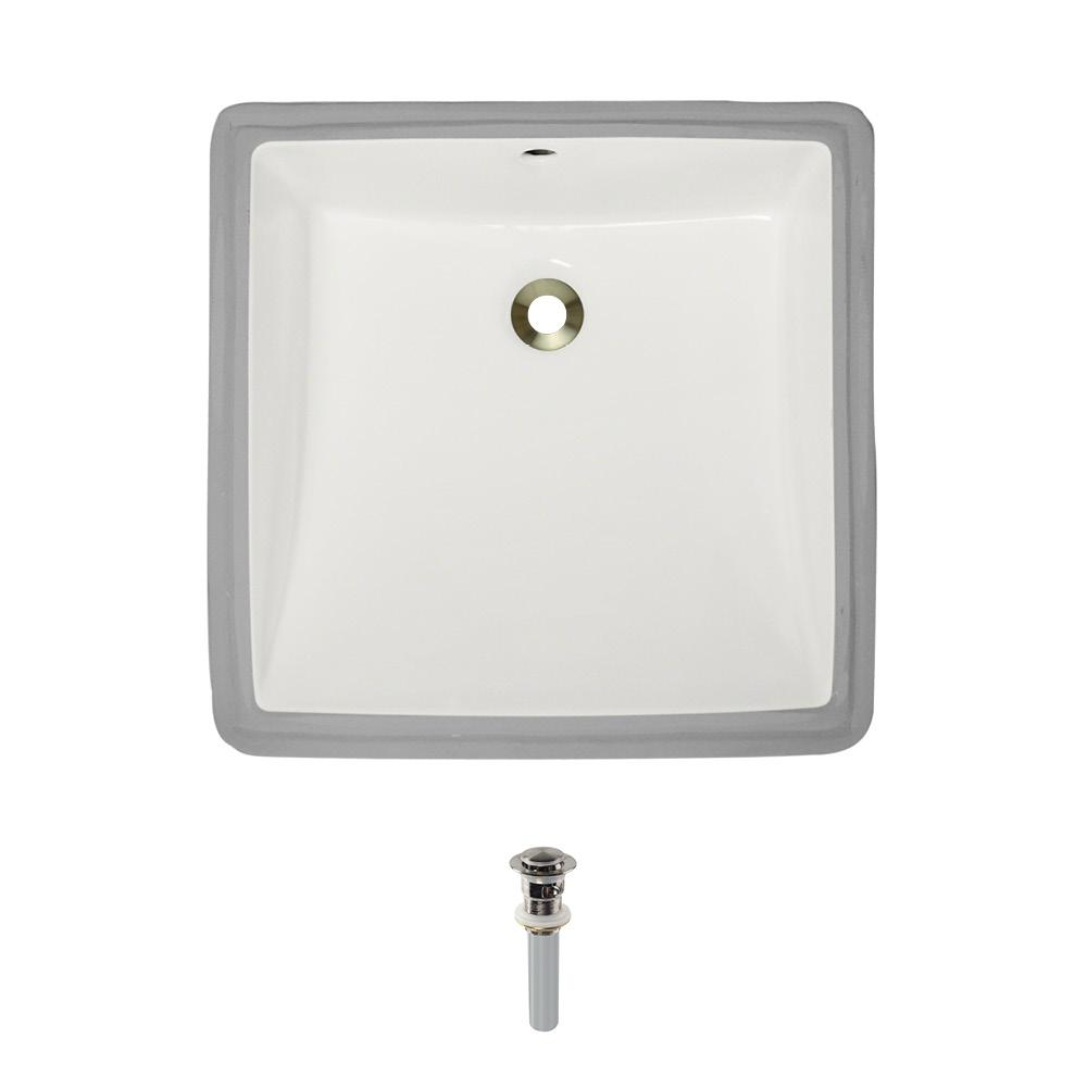 Under-Mount Porcelain Bathroom Sink in Bisque with Pop-Up Drain in Brushed