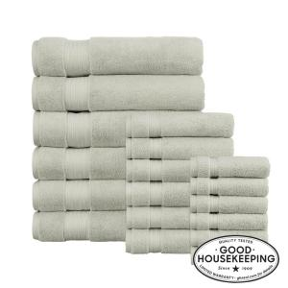 Egyptian Cotton 18-Piece Bath Sheet Towel Set in Sage