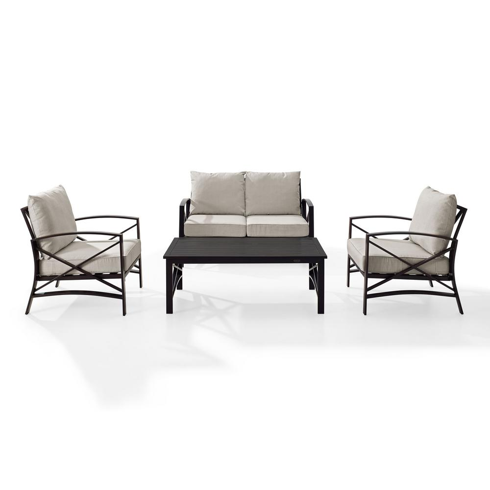 Crosley Kaplan 4-Piece Metal Patio Outdoor Seating Set with Oatmeal Cushion  - Loveseat, 2-Chairs, Coffee Table