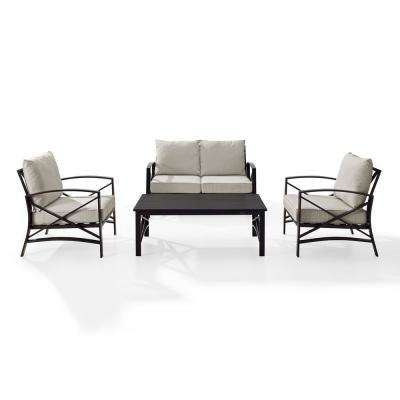 Kaplan 4-Piece Metal Patio Outdoor Seating Set with Oatmeal Cushion - Loveseat, 2-Chairs, Coffee Table