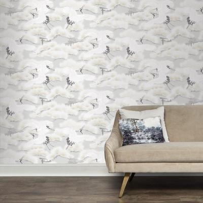 Asian Toile Winter White Self-Adhesive Removable Wallpaper