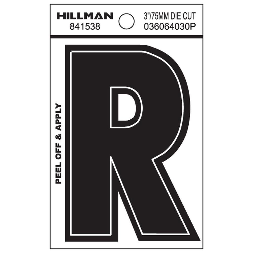 3 in. Black Vinyl Die-Cut Letter R