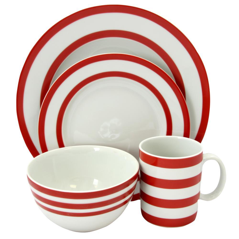 Just Dine Bistro Edge 16-Piece Red Dinnerware Set  sc 1 st  Home Depot & Just Dine Bistro Edge 16-Piece Red Dinnerware Set-98597596M - The ...