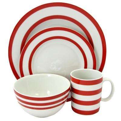 Bistro Edge 16-Piece Red Dinnerware Set